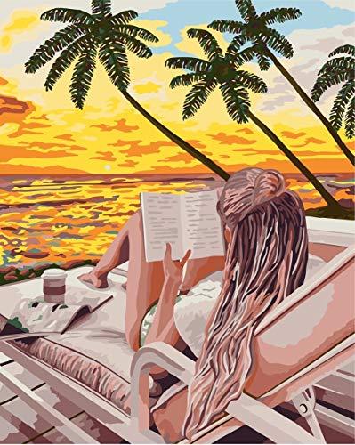 Handaxian Cuadro En Lienzo-Pintura Abstracta De Pintura,De La Pared Decoración De Arte De Pared Sala De Estar Adecuada,Dormitorio-Hermosa Mujer Leyendo en la Playa(80x120cm) Sin Marco
