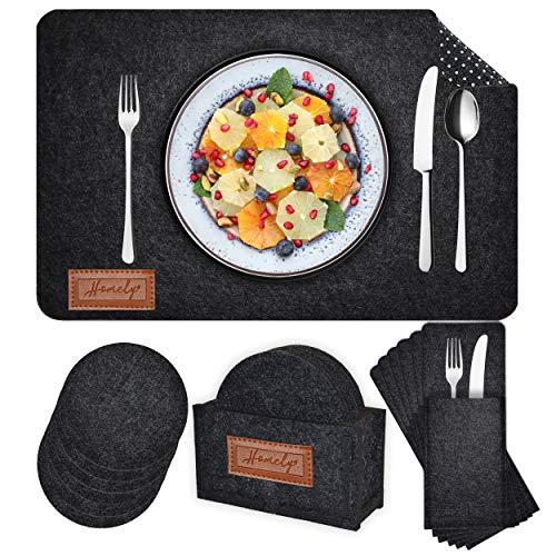 Homely Premium Tischset Filz - 6er Set - 18-teilig - anthrazit - anti-rutsch - Platzset Filz abwaschbar - 6x Telleruntersetzer 6x Glasuntersetzer 6X Bestecktaschen und 1x Halter – Untersetzer Teller