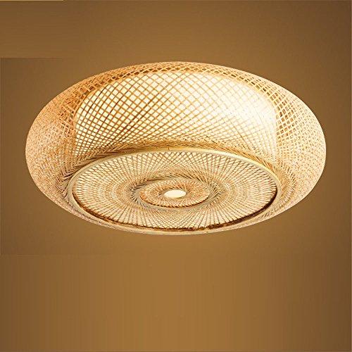Lightoray LED Deckenleuchte Badezimmer Lampen Deckenlampe Im japanischen Stil Bambus Rattan Creative Circle für Schlafzimmer, Wohnzimmer, Arbeitszimmer, Balkon, Eingang, Gang, 35 * 11 CM