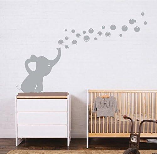Les Bulles 'Eléphant Stickers Muraux Autocollants De Bricolage Décoration Bébé Mur Autocollants (Gris)