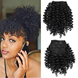 Black Kinky Curly Bangs Twist Clip In Hair Extension for Black Women Afro High Puff Hairpiece
