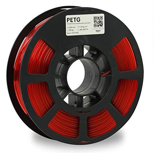 KODAK PETG 3D Printer Filament, 2.85mm +/- 0.02 mm, 750g (1.7lbs) Spool, Translucent Red