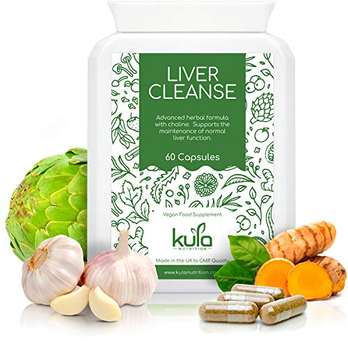 Liver Cleanse Supplement - 60 Vegetarian Capsules - Herbal Liver and Gallbladder Detox - Artichoke, Garlic, Burdock Root, Liquorice, Fennel, Turmeric, Ginger, Dandelion and Choline - Kula Nutrition.