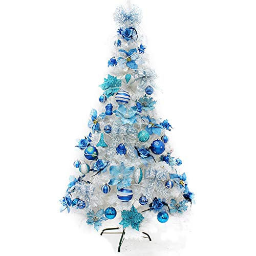 DULPLAY Pre-Decorated Christmas Tree,with Ornaments LED Lights &Metal Stand Eco-Friendly Xmas Tree Premium Multicolored-Blue 4Ft(120cm)
