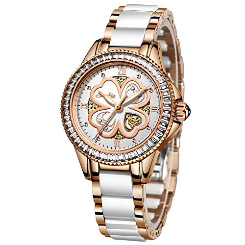 Damenuhren, Sunkta Damen Quarzuhr Mode Lässig Wasserdicht Keramikuhr Damen Edelstahlband Rotgold Weiß Armbanduhr ST6001B