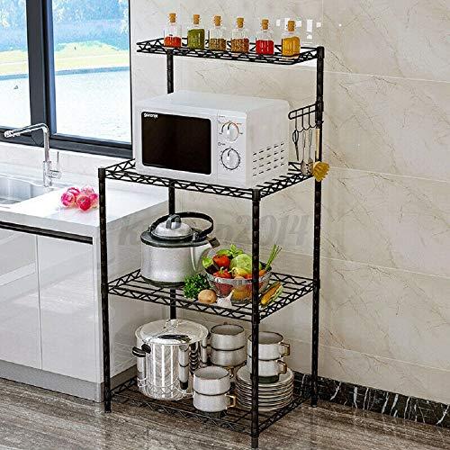 Fauzan_ruo 3 Tier Microwave Stand Kitchen Storage Rack Shelf Bakers Spice Metal Shelves