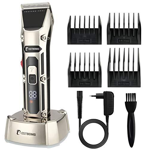 BESTBOMG Haarschneidemaschine Profi, Betrieb 5-6 Stunden, 2 Laufgeschwindigkeiten, Haarschneider Herren Haartrimmer Bartschneider Barttrimmer Präzisionstrimmer Männer 2500mAh