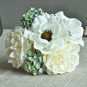 ZHUZI Home Decoration Room Bridal Scrapbook Silk Mixed Fake Flower Artificial Peony Anemone Wedding Bouquet Flux Plants(White)