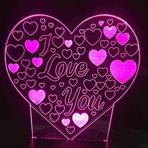 Boutiquespace 3D i Love You Love Heart led lamp Desk lamp Colorful...
