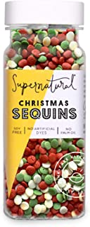 Christmas Sequins Sprinkles by Supernatural, Natural Confetti Sprinkles, Gluten-Free, Vegan, No Artificial Dyes, Soy Free ...