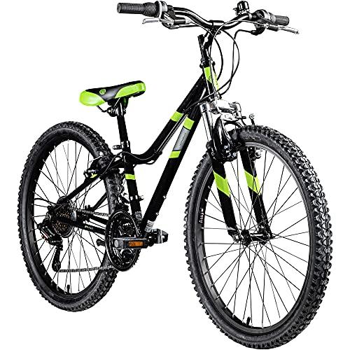 Galano GA20 Mountainbike 24 Zoll Jungen Mädchen Fahrrad für Jugendliche Jugendfahrrad MTB Hardtail Jugend Kinder Fahrrad ab 8 Jahre Mountain Bike 21 Gänge (schwarz/grün, 30 cm)