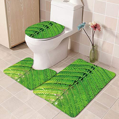 IRCATH Rojo Floral Verde Hoja estéreo patrón de Moda Simple decoración del hogar de Tres Piezas Alfombra de baño Antideslizante-C5 Alfombra de Baño de Espuma Viscoelástica Cómoda y Transpirable