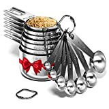 Stainless Steel Measuring Cups and Spoons Set of 16 Pieces — 7 Nesting Cups and 7 Stackable Spoons + 2 D Rings — Professional Portable and Sturdy Metal Measuring Set for Liquid Wet and Dry Ingredients