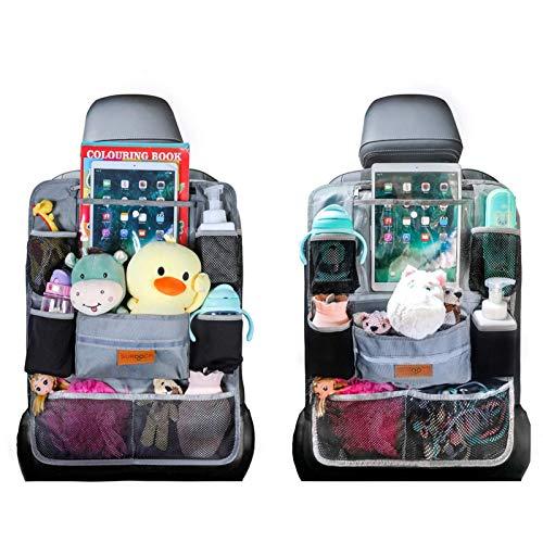 SURDOCA Autositz-Organizer – 4th Generation verbesserter Auto-Organizer Rücksitz für bis zu 10,5 iPad, 9 Taschen, Kinderspielzeug-Aufbewahrung, wasserdichter Rücksitzschutz für Kinder, Grau,2 Stück
