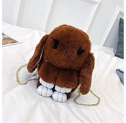 Mochila linda del conejo de la pelusa 33 cm bolsa de mochila de la mochila de la mochila de la moda de la moda de la moda de la pelusa de la piel del cabo de la liebre de las cadenas de las cadenas de