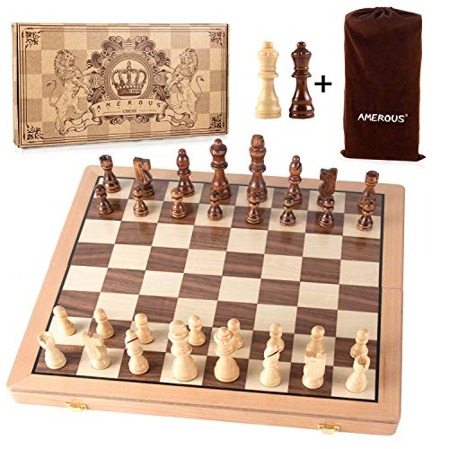 AMEROUS Magnetic Wooden Chess Set, 15 Inches Handmade Wooden Folding Travel Chess Board Game Sets with Chessmen Storage Slots for Kids and Adults, 2 Bonus Extra Queens, Gift Box Packed