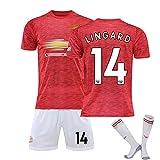ZYWCXM Uniforme de fútbol, Adecuado para Manchester Pogba 6# Jersey, Lingard 14# Uniforme de fútbol, Hombres y niños Pueden Personalizar Uniformes de fútbol, Secado NO.14-XL