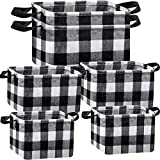 6 Pieces Square Storage Basket Buffalo Check Storage Bin Plaid Storage Organizer with Handles Collapsible Square Organizer for Home Office (Black and White)
