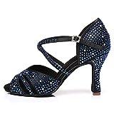 HROYL Zapatos de Baile para Mujeres y Niñas Latino de Diamantes de imitación Señoras Salsa Latina Tango Zapatos de Boda de satén,ESYCL382-6,Negro Azul,34EU