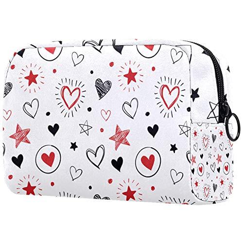 Bolsa de aseo de viaje para hombres y mujeres (18,5 x 7,6 x 13 cm), diseño de corazones y estrellas, bolsa de maquillaje de PVC para mujeres y niñas