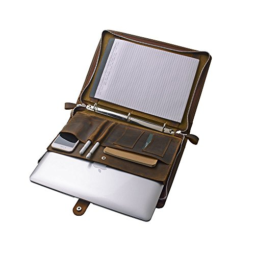 Rustic Leather Organizer Laptop Portfolio with 3-Ring Binder for 13 inch Surface Book / MacBook Air, Brown