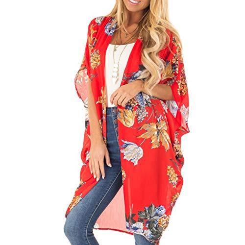 Ausverkauf 2019 - Blusa de manga mediana de gasa para mujer, estampado de cardigan, para verano, suelta, sandy, playa rojo rojo M