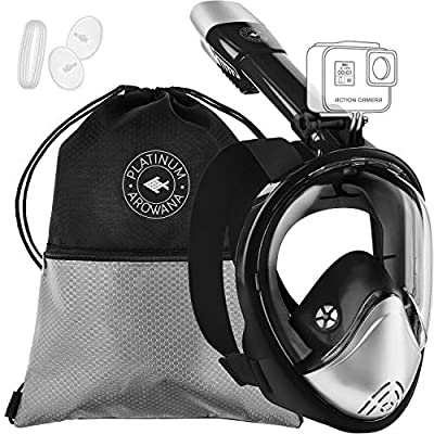 Full Face Snorkel Mask Panoramic View Shallow Dive Mask Curved Face Design Leak Proof 180 Degree Viewing Anti-Fog Anti-Leak Tubeless Scuba Mask Gear Dry Top Water Blocking System