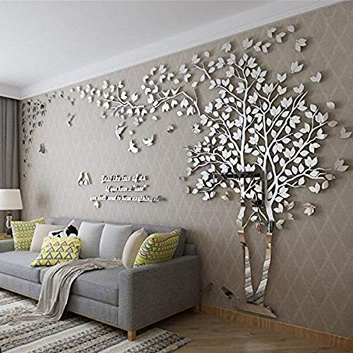 Albero Adesivo da Parete, Alberi e Uccelli 3D Adesivi Murali Arts Wall Sticker Decorativi per TV Par (M-250 * 130cm, Argento Destra)