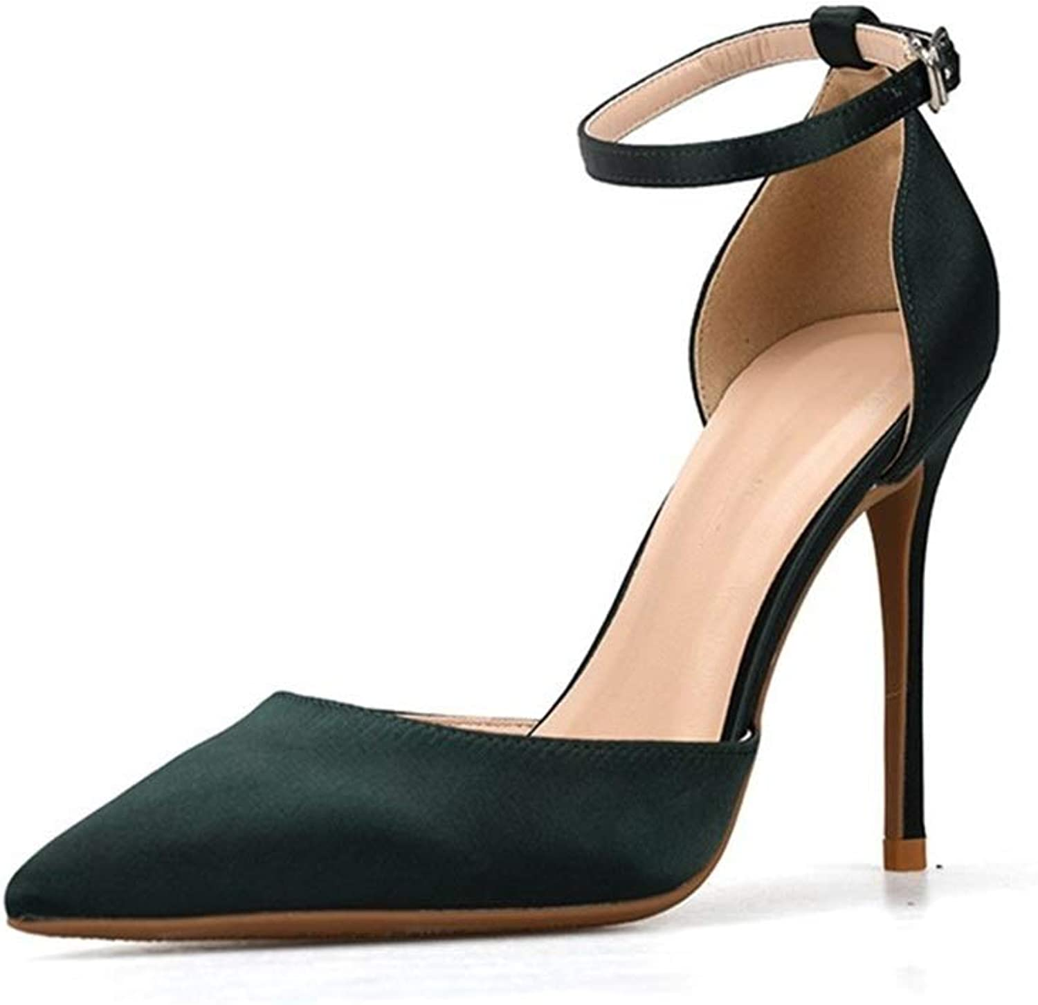 ZerenQ Ankle Strap Sandals for Women Stiletto 6cm High Heeled Pumps Side Cut Pointed shoes for Ladies (color   Black, Size   33 EU)