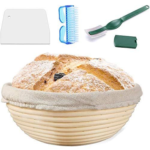 9 Inch Round Proofing Basket, Finelegend Bread Banneton Proofing Basket + Bread Lame +Dough Scraper+ Basting Brush+ Linen Liner Cloth for Professional & Home Bakers