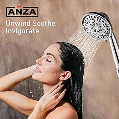 """Anza High Pressure 7-Setting 4.5"""" Shower Head with Handheld, Chrome Plated Shower Head with Stainless Steel Hose Hand Hel"""