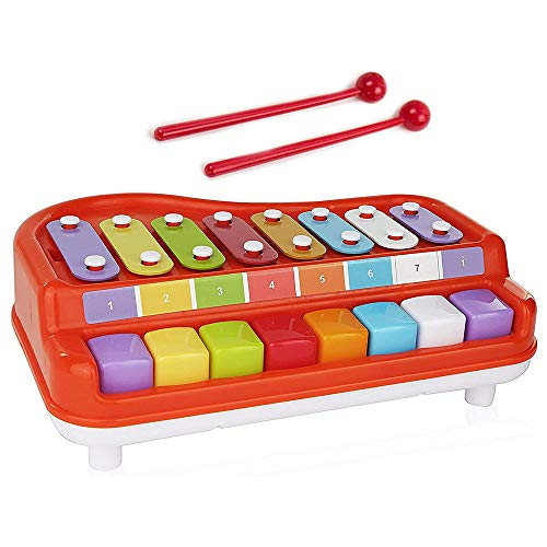 Toysery 2 in 1 Piano Xylophone Kids Toy Educational Toddler Musical Instruments ToySet 8 Multicolored Key Scales in Crisp and Clear Tones with Mallets Music Cards and Songbook for Babies Boys Girls