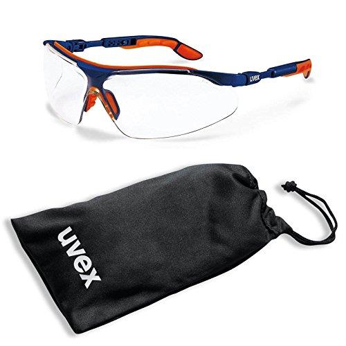 UVEX Schutzbrille i-vo 9160265 blau-orange klar im Set inkl. Mikrofaser-Beutel - kratzfest, beschlagfrei - Sicherheitsbrille, Arbeitsschutzbrille