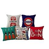 JWEK Funda de cojín Conjunto de 5 Funda de Almohada Decorativa de Estilo londinense Soldados británicos Autobús de Londres Funda de cojín de Dibujos Animados Linda Funda de Almohada de sofá 45X45Cm