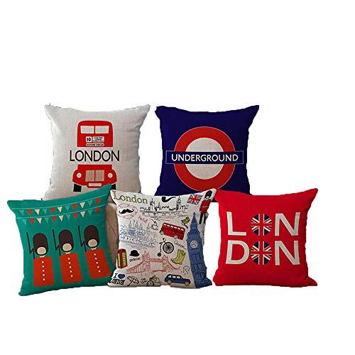 JWEK Fodera per Cuscino Set di 5 Federa di tiro Decorativa Stile Londra Soldati Britannici Bus di Londra Simpatico Cartone Animato Federa per Divano Federa 45X45 cm