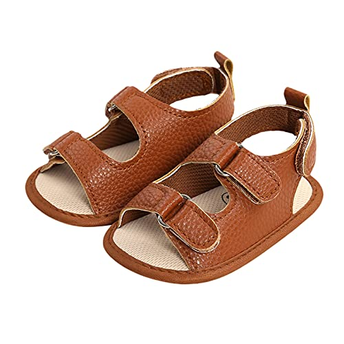 VIENNAR Sandalias de cuero para niñas y bebés, suela antideslizante, color sólido, para caminar, suela suave, para playa, zapatos casuales