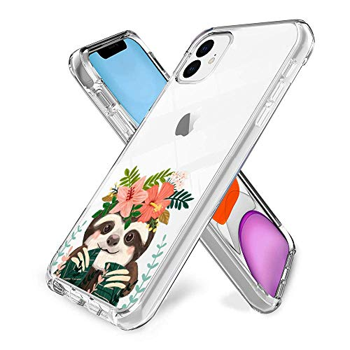 Slim Clear Cute Sloth Case for iPhone 11 Customized Design Soft TPU and Rubber Flexible Durable Shockproof iPhone 11 Protective Case-Anti-Slippery