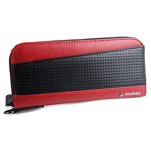 [モバック] mobac 財布 長財布 メンズ ラウンドファスナー メッシュエンボス (レッド)