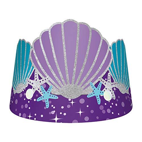 amscan Mermaid Magic Paper Party Crowns - 8 pcs