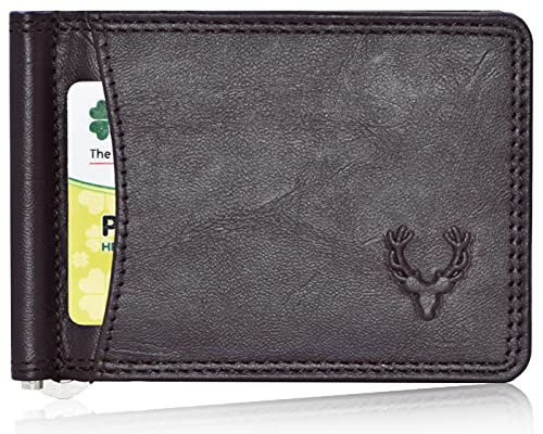 Allen Solly Men's Money Clip Leather Bi-Fold Slim Wallet with Card Holders (Chocolate Brown)