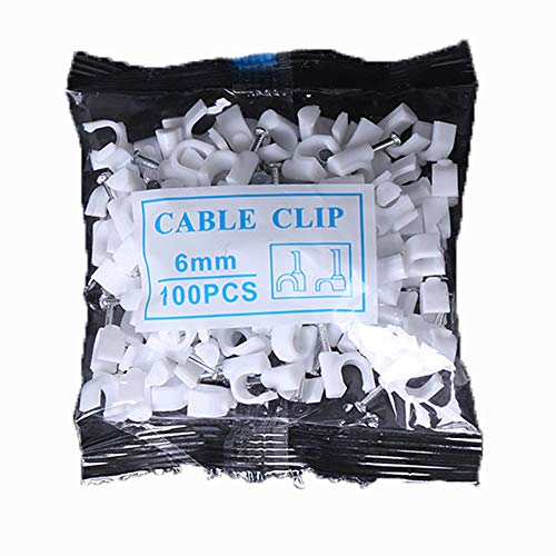 MINGZE Grapas para cables, Clips redondos blancos del alambre del cable 100pcs...