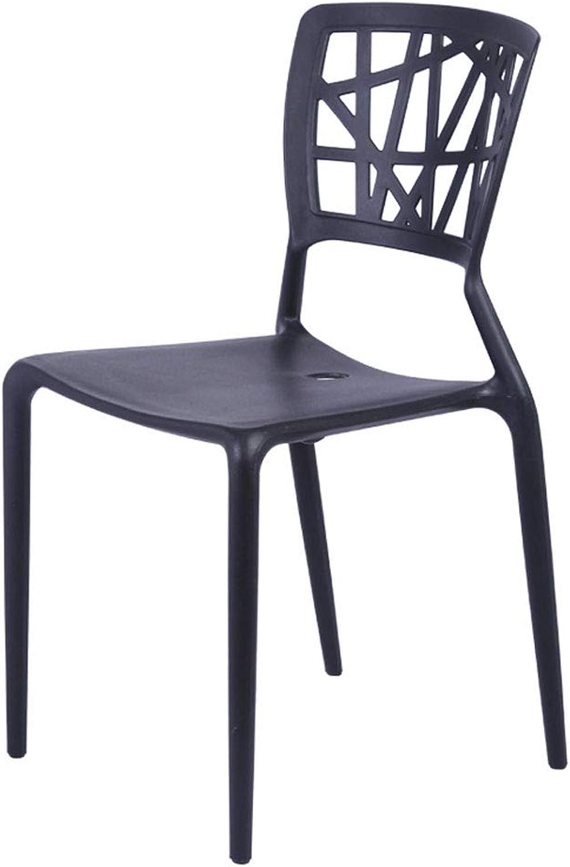 CHX Nordic Plastic Backrest Stool Restaurant Home Fashion Creative Office Chair C (color   Black, Size   L50.5CMXW44CMXH84CM)