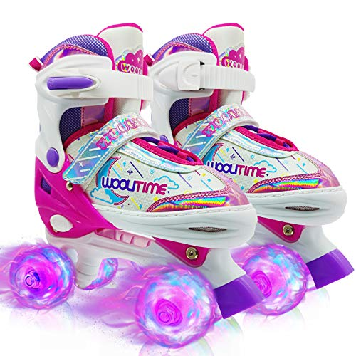 Woolitime Sports Adjustable Roller Skates for Girls and Boys, These Kids Roller Skates with Illuminating Wheels