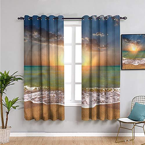Sunset - Cortinas opacas para decoración de dormitorio, 183 cm de largo, ideal para paisajes de playa, tela impermeable de 163 cm de ancho x 182 cm de largo