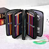 ZJW Colored Pencil Case, 72 Slots Big Capacity Zipper Pencil Bag, Portable Multi-Functional Stationery Pencil Pouch