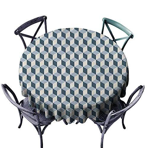 ScottDecor - Mantel Redondo para Picnic con diseño de Renacimiento, diseño de Madre e Hijos en Granja con Marco Antiguo y Estampado artístico, Color Azul y Gris
