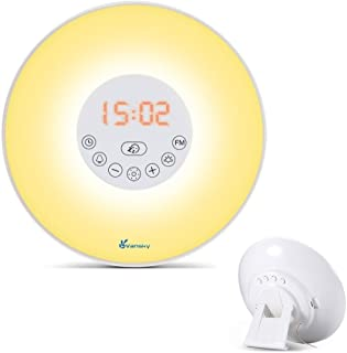 Vansky Sunrise Wake Up Light, Digital Alarm Clock Multi-Colorful Night Light Bedside Lamp with Nature Sounds, FM Radio, Brightness Adjustable- Touch Control