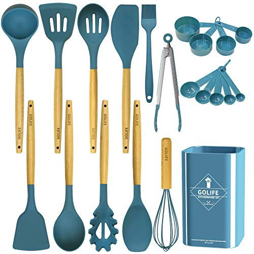 GOLIFE Silicone Cooking Utensil Set, Kitchen Utensils 20 PCS Cooking Utensil Set, Non-stick Heat Resistant Cookware, Silicone Wooden Kitchen Tool Set Gifts (Dark Blue)
