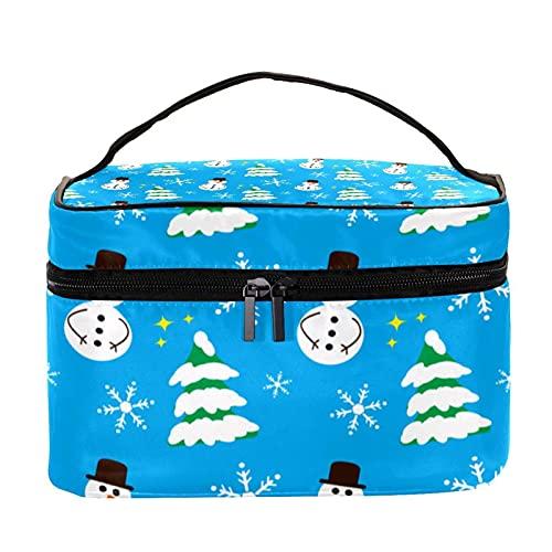 Bolsa de maquillaje de invierno con diseño de copo de nieve, color azul, bolsa de maquillaje grande, organizador de maquillaje, con cremallera, para mujeres y niñas