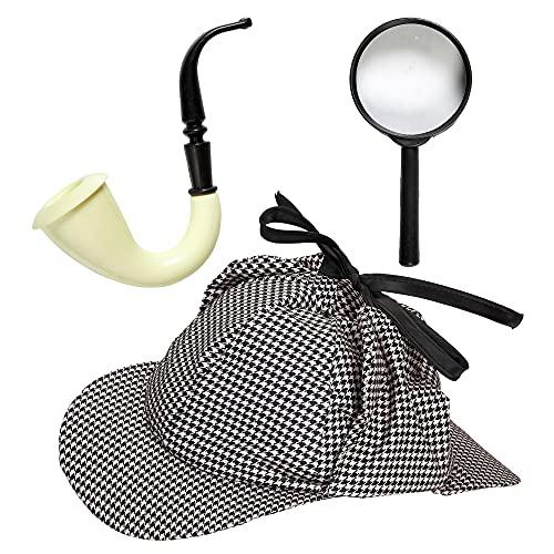 Widmann 01155 Detektiv Set, Unisex– Erwachsene, Grau/Weiß, Einheitsgröße